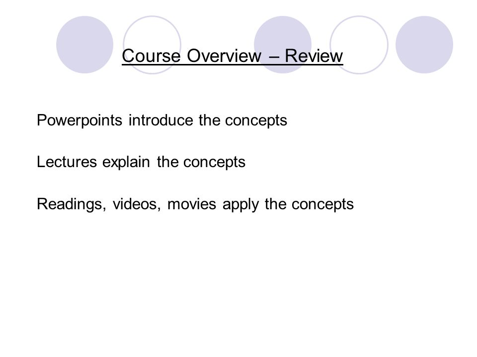 Course Overview – Review