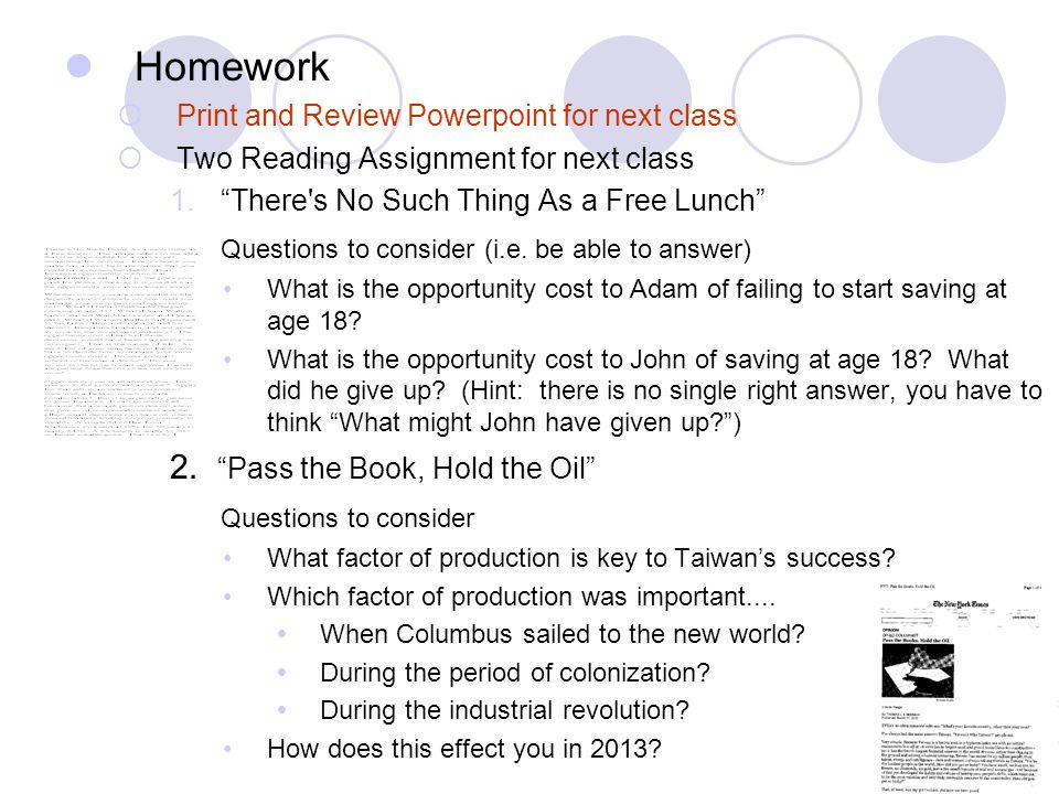Homework Questions to consider (i.e. be able to answer)