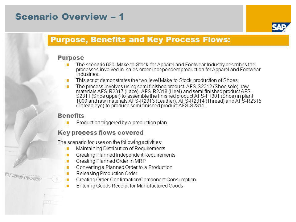 Scenario Overview – 1 Purpose, Benefits and Key Process Flows: Purpose