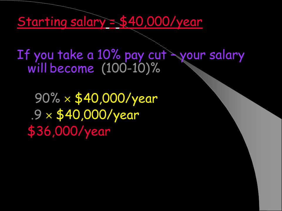 Starting salary = $40,000/year