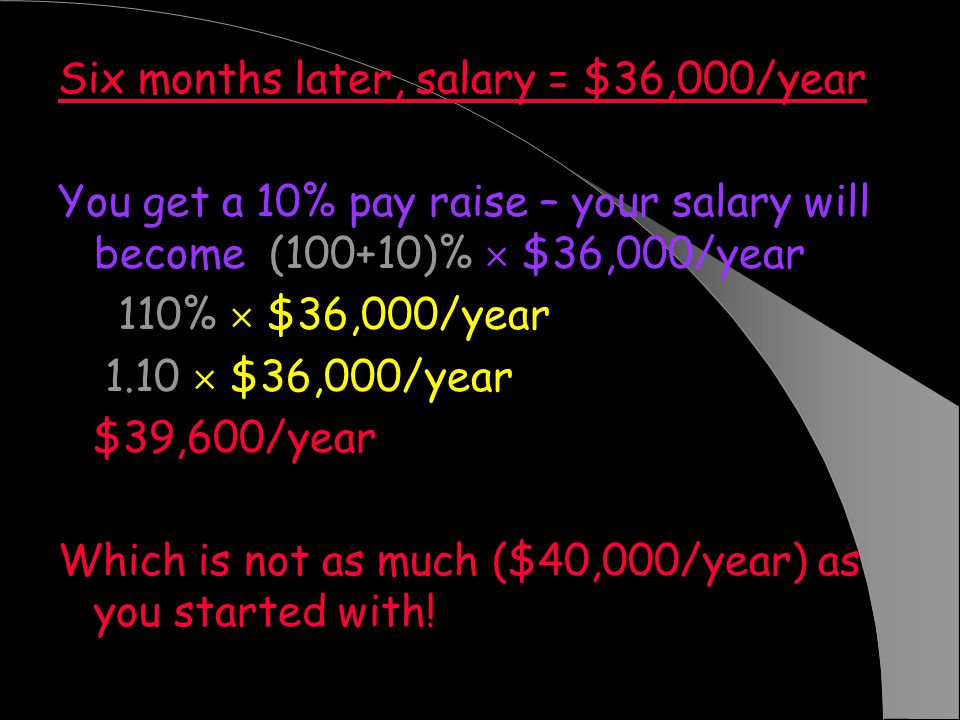 Six months later, salary = $36,000/year