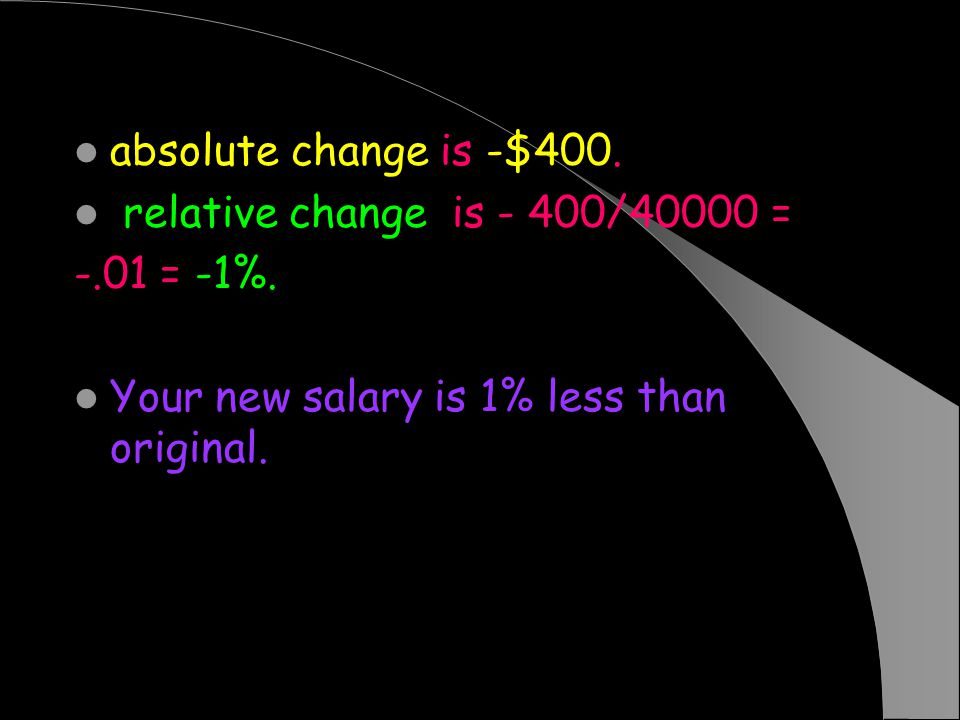 absolute change is -$400. relative change is - 400/40000 = -.01 = -1%.