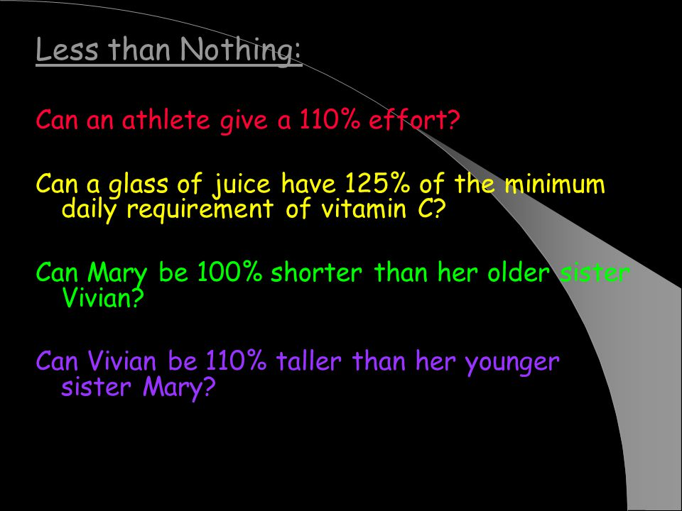 Less than Nothing: Can an athlete give a 110% effort