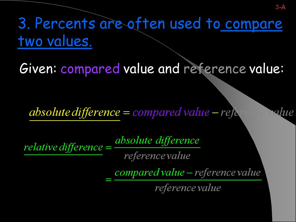 Given: compared value and reference value: