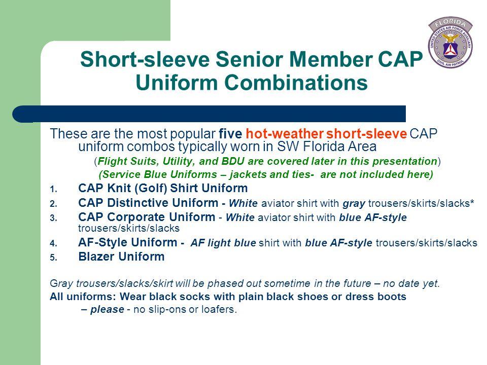 Short-sleeve Senior Member CAP Uniform Combinations