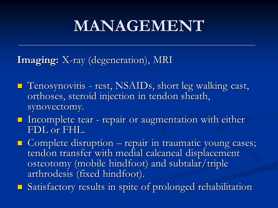 MANAGEMENT Imaging: X-ray (degeneration), MRI