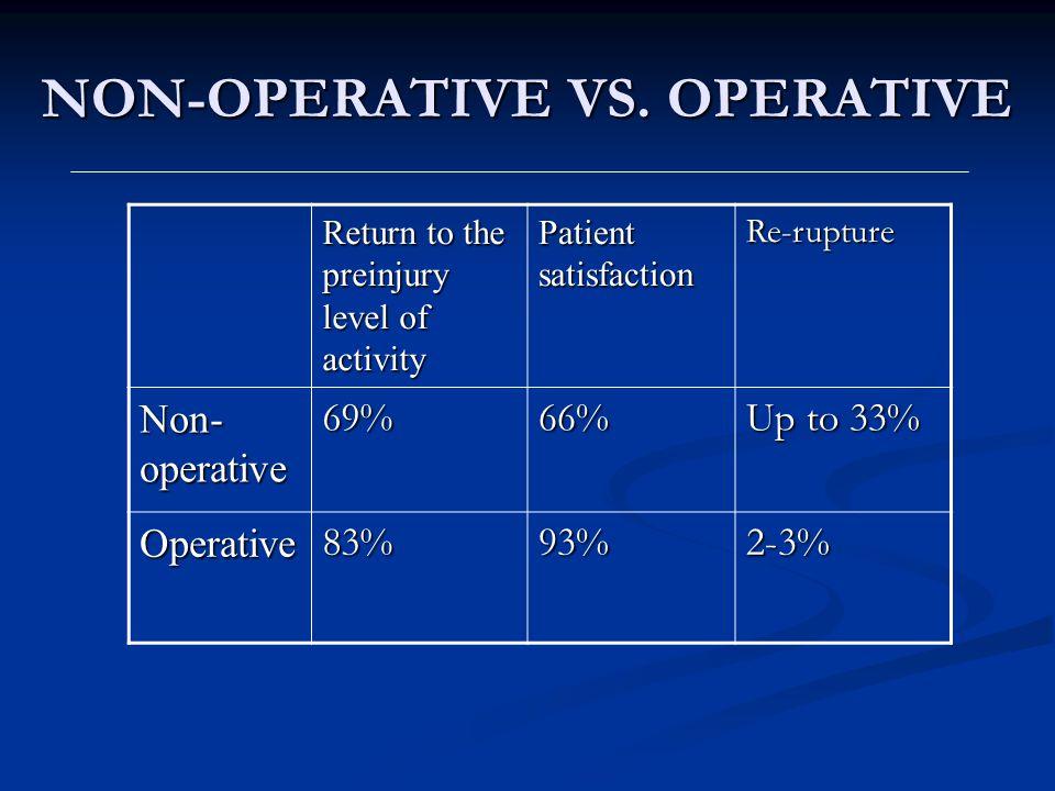 NON-OPERATIVE VS. OPERATIVE