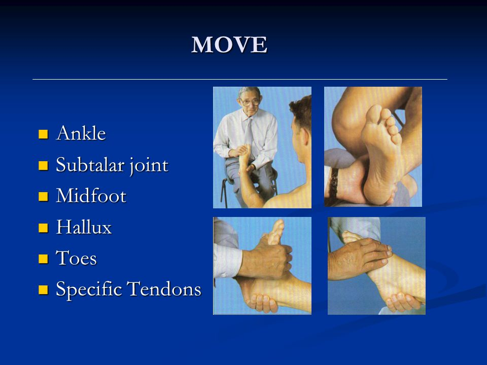 MOVE Ankle Subtalar joint Midfoot Hallux Toes Specific Tendons