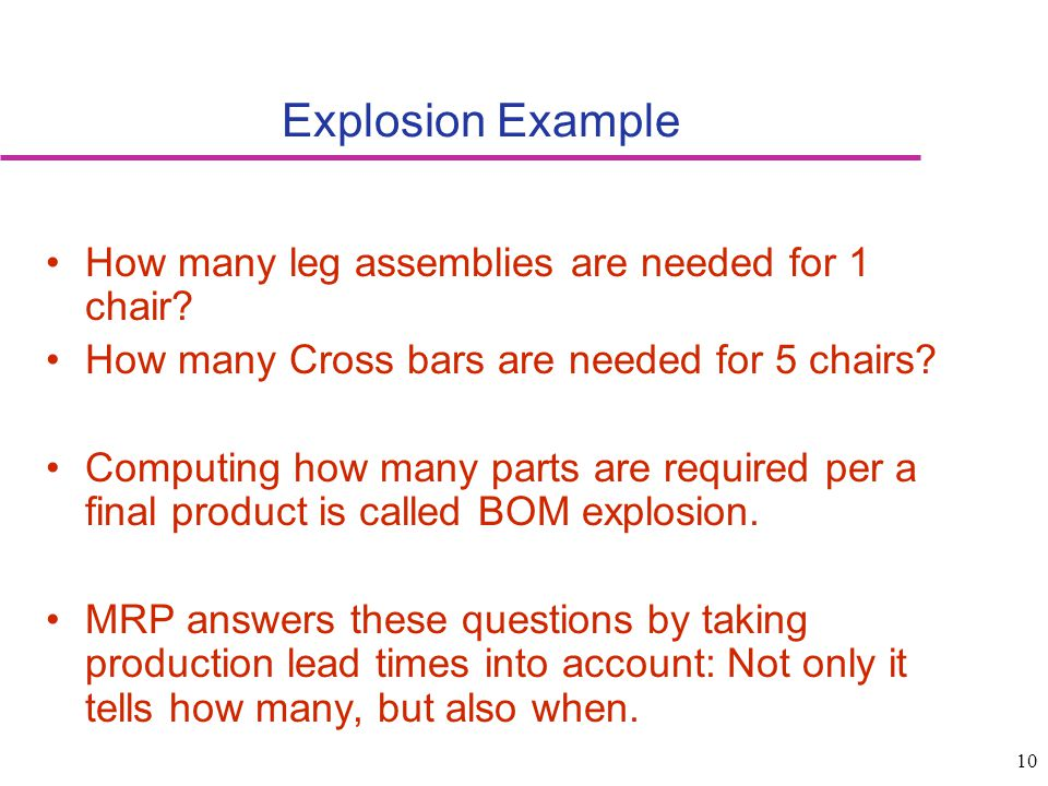 Explosion Example How many leg assemblies are needed for 1 chair