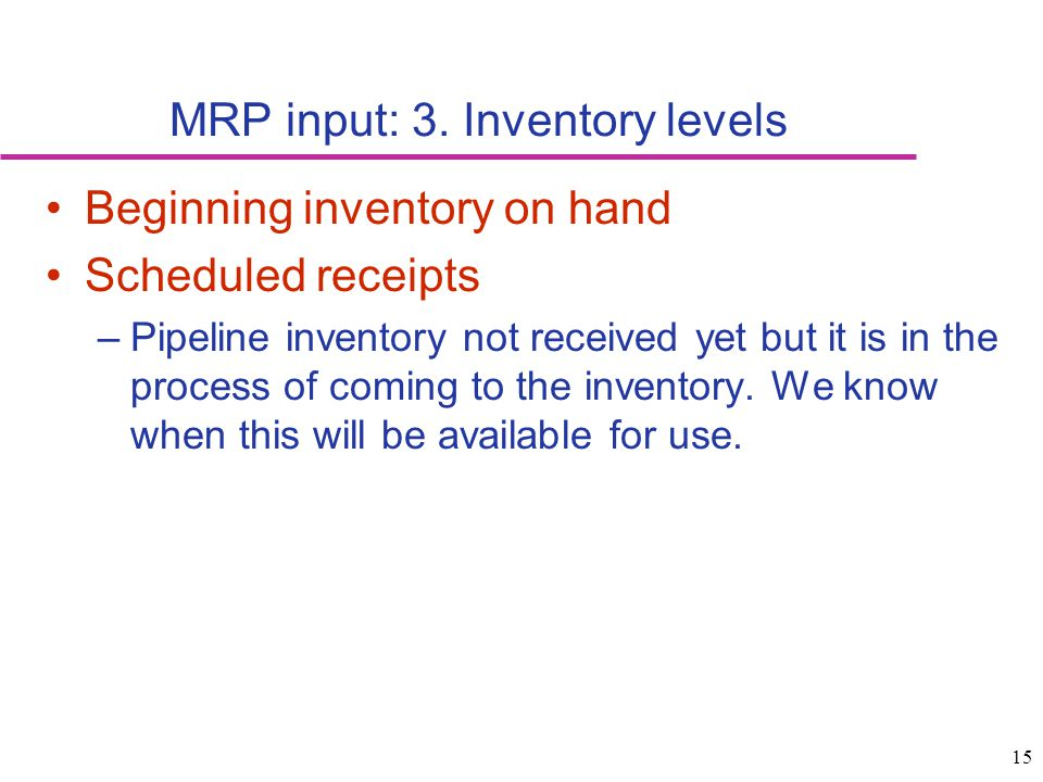 MRP input: 3. Inventory levels
