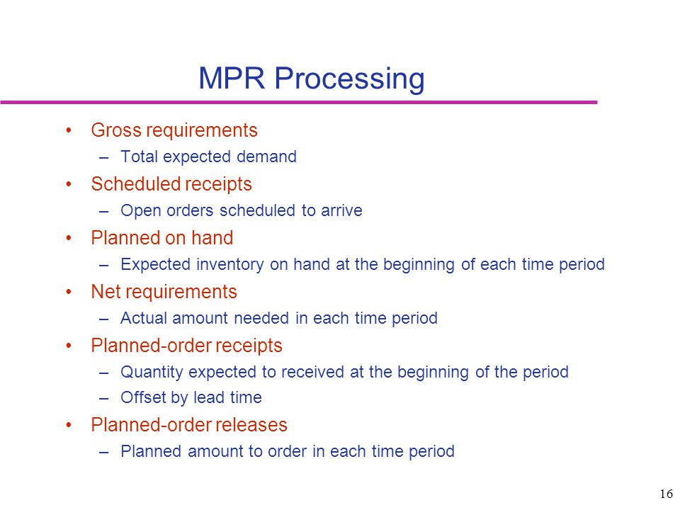 MPR Processing Gross requirements Scheduled receipts Planned on hand