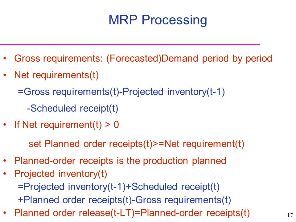 MRP Processing set Planned order receipts(t)>=Net requirement(t)