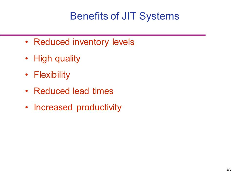 Benefits of JIT Systems