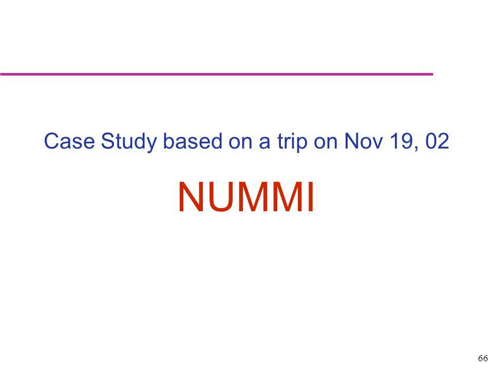 Case Study based on a trip on Nov 19, 02
