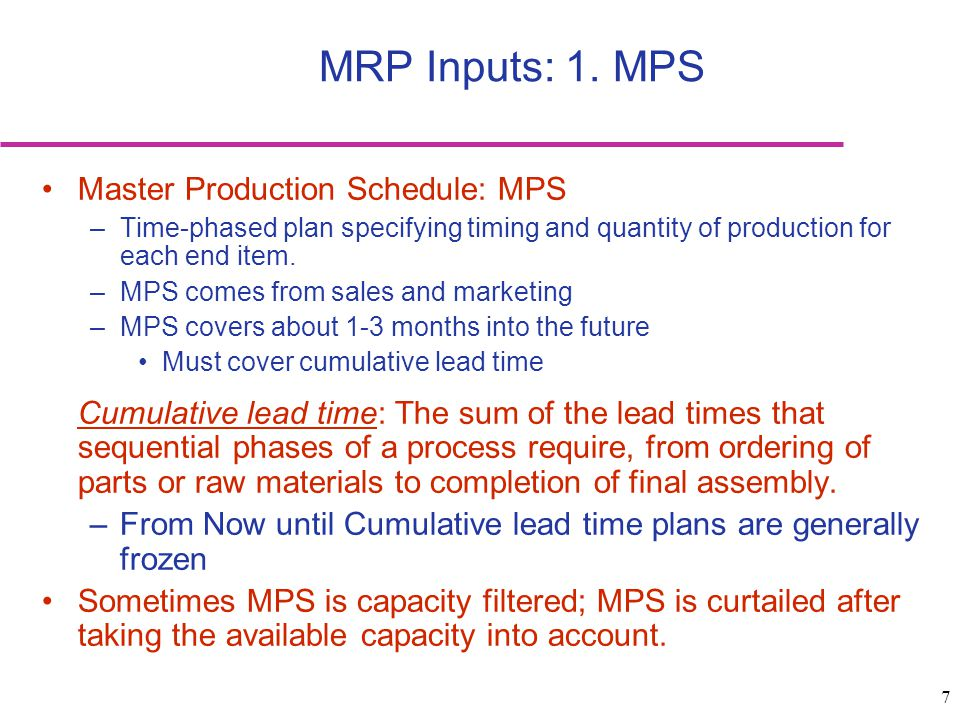 MRP Inputs: 1. MPS Master Production Schedule: MPS