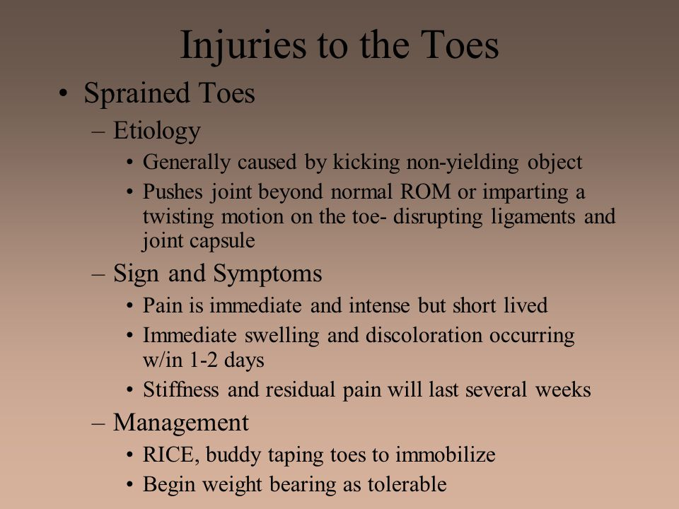 Injuries to the Toes Sprained Toes Etiology Sign and Symptoms