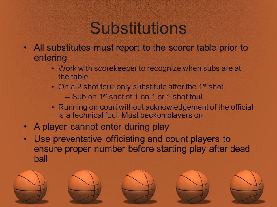 Substitutions All substitutes must report to the scorer table prior to entering. Work with scorekeeper to recognize when subs are at the table.