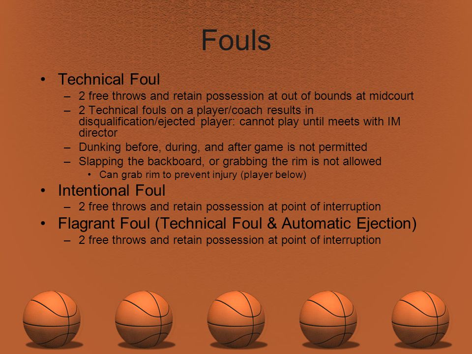 Fouls Technical Foul Intentional Foul
