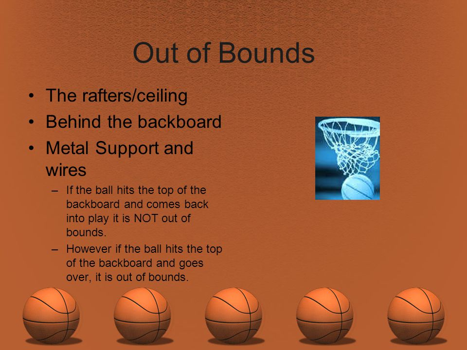 Out of Bounds The rafters/ceiling Behind the backboard
