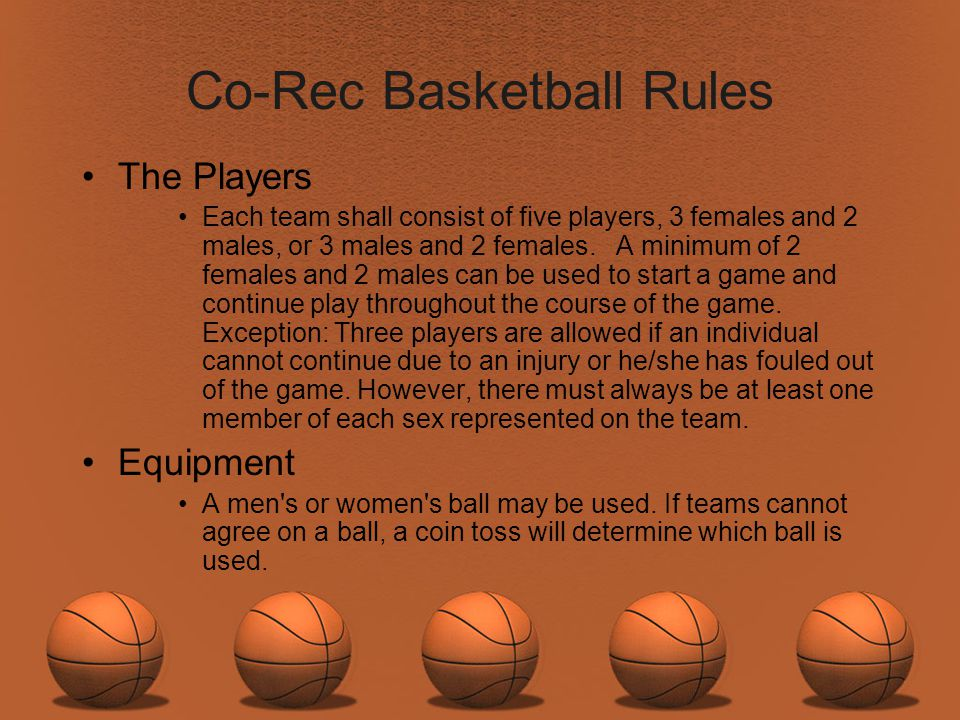 Co-Rec Basketball Rules
