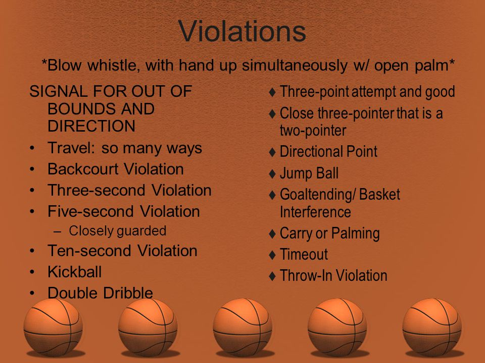 Violations *Blow whistle, with hand up simultaneously w/ open palm*