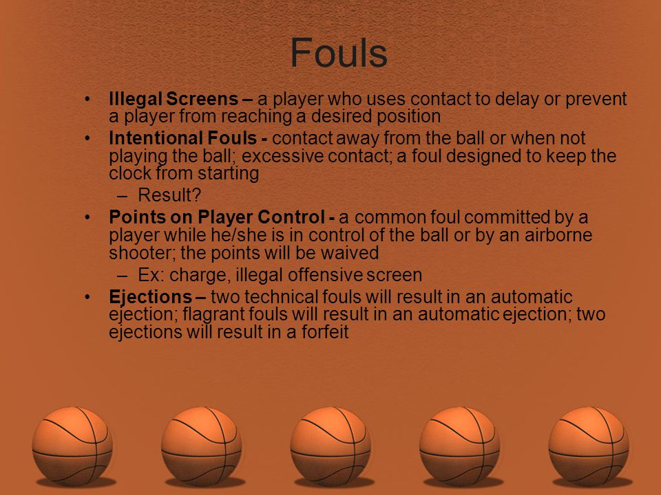 Fouls Illegal Screens – a player who uses contact to delay or prevent a player from reaching a desired position.
