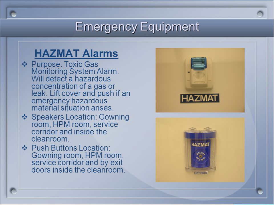 Emergency Equipment HAZMAT Alarms