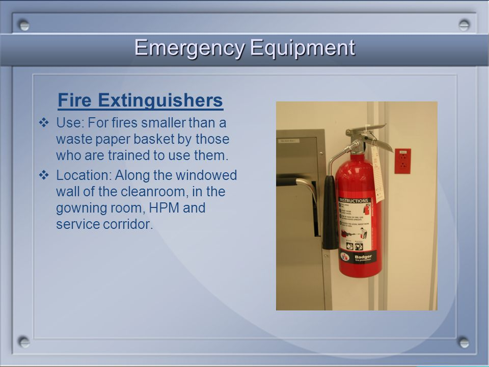 Emergency Equipment Fire Extinguishers
