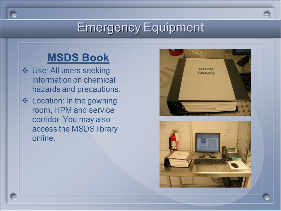 Emergency Equipment MSDS Book