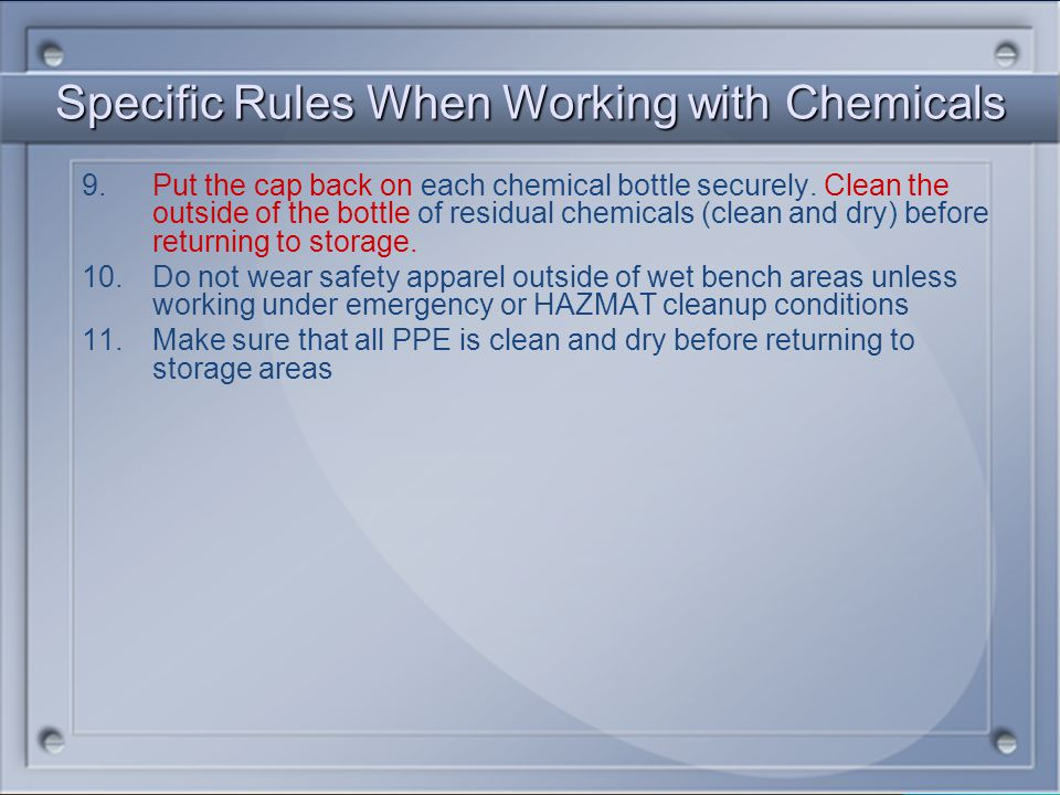 Specific Rules When Working with Chemicals