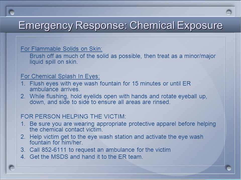 Emergency Response: Chemical Exposure