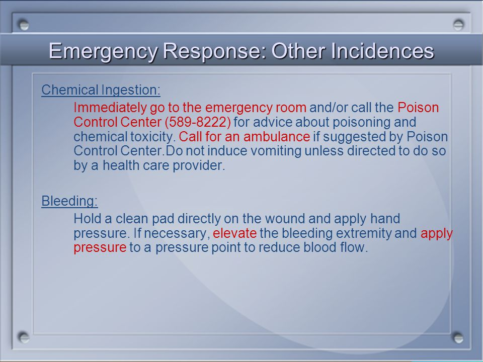 Emergency Response: Other Incidences