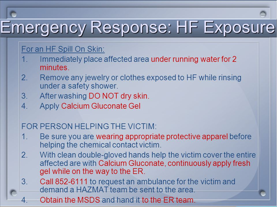 Emergency Response: HF Exposure