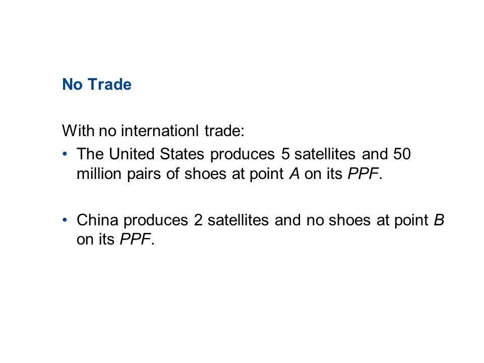 19.2 THE GAINS FROM TRADE No Trade With no internationl trade: