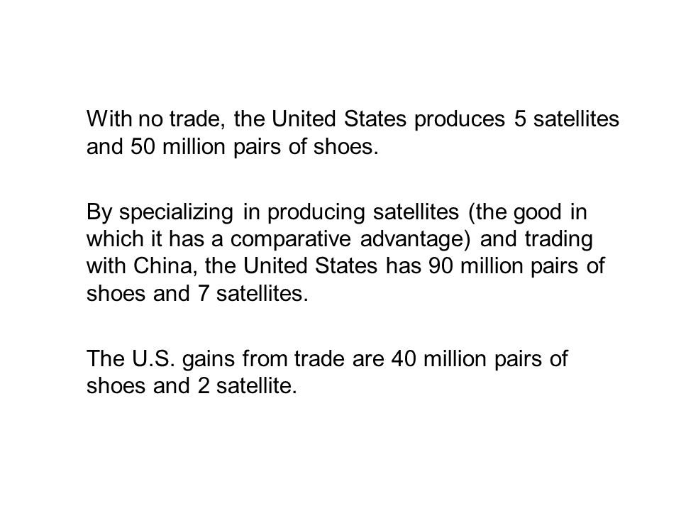 19.2 THE GAINS FROM TRADE With no trade, the United States produces 5 satellites and 50 million pairs of shoes.