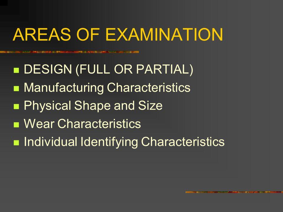 AREAS OF EXAMINATION DESIGN (FULL OR PARTIAL)