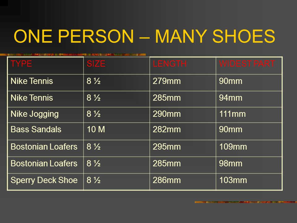 ONE PERSON – MANY SHOES TYPE SIZE LENGTH WIDEST PART Nike Tennis 8 ½