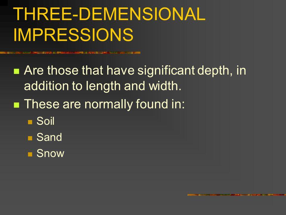 THREE-DEMENSIONAL IMPRESSIONS