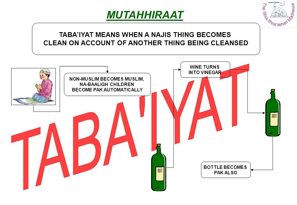 TABA IYAT MUTAHHIRAAT TABA'IYAT MEANS WHEN A NAJIS THING BECOMES