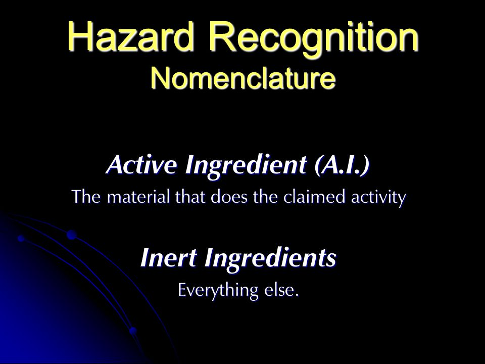 Hazard Recognition Nomenclature
