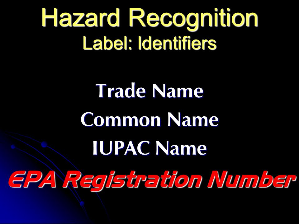 Hazard Recognition Label: Identifiers