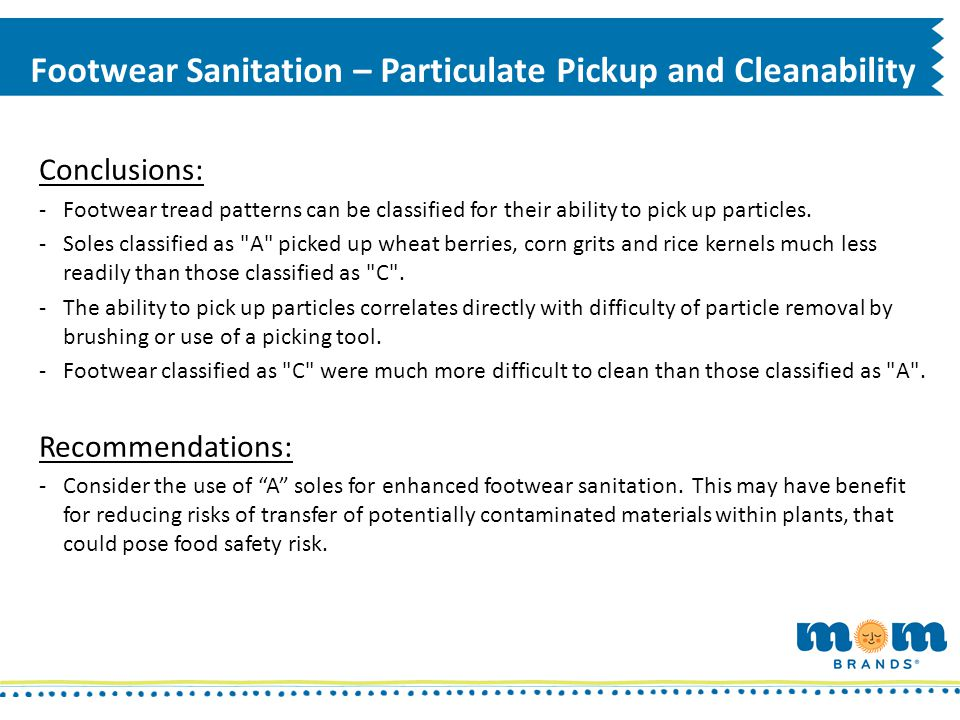 Footwear Sanitation – Particulate Pickup and Cleanability
