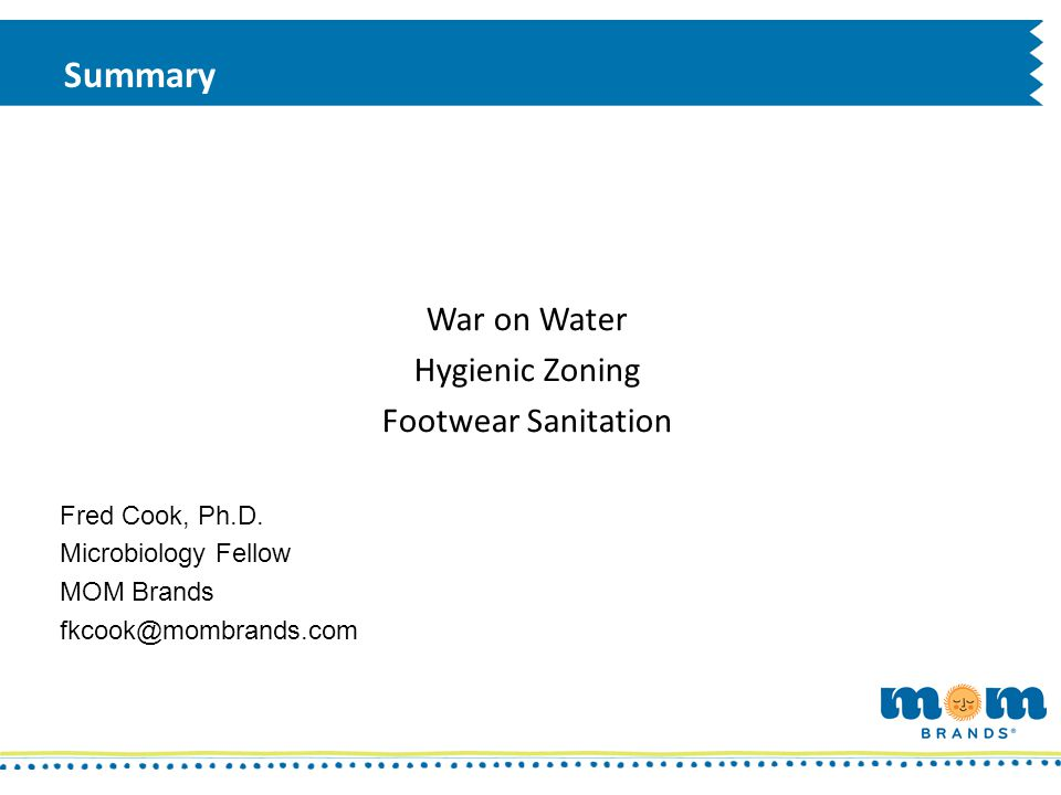Summary War on Water Hygienic Zoning Footwear Sanitation