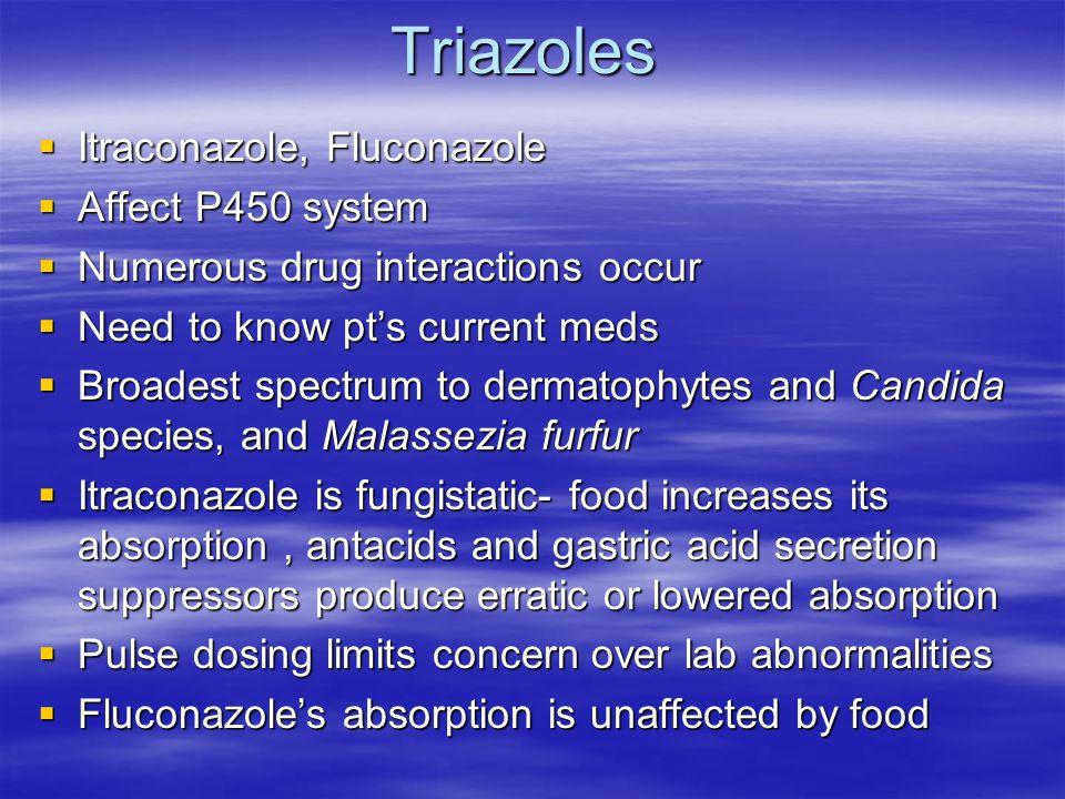 Triazoles Itraconazole, Fluconazole Affect P450 system