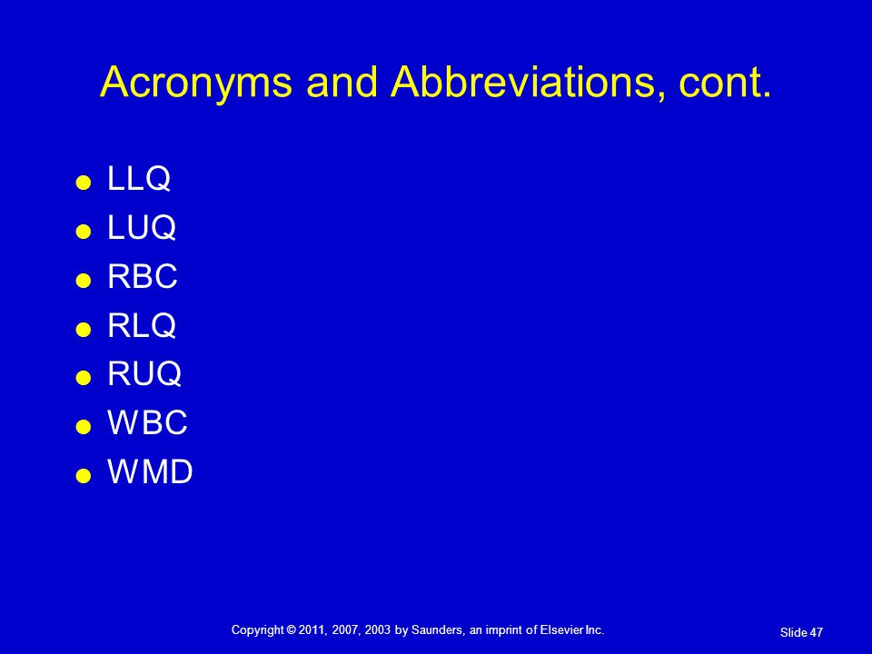 Acronyms and Abbreviations, cont.