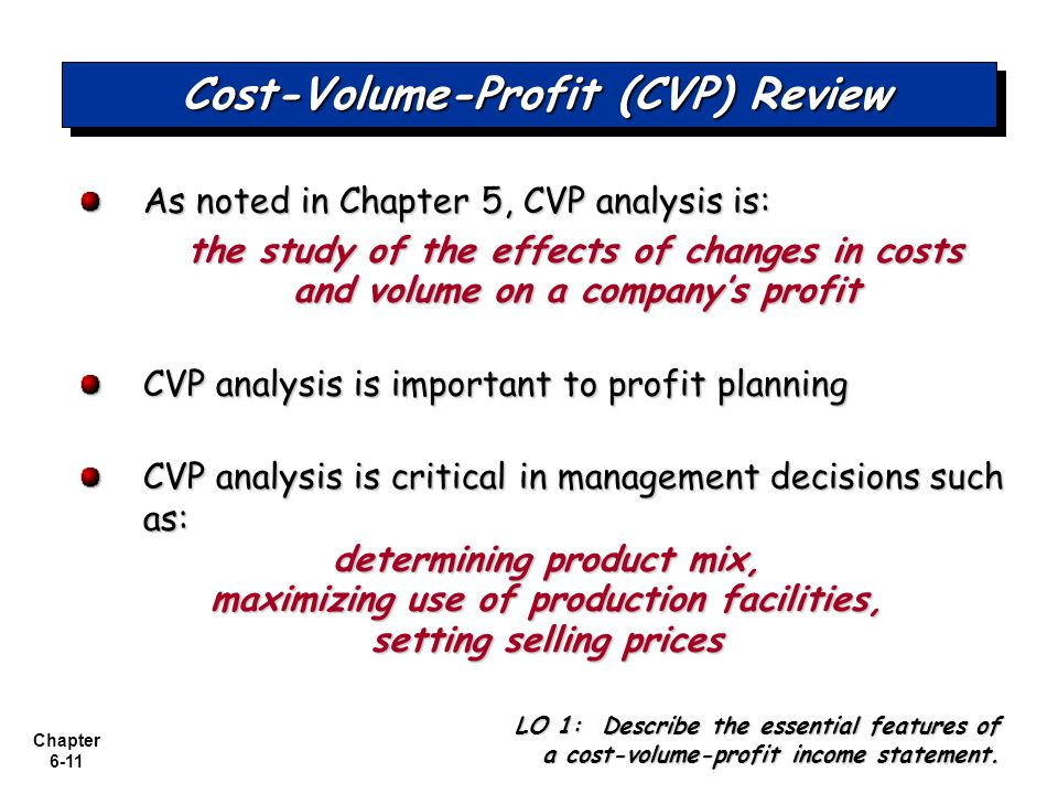 Cost-Volume-Profit (CVP) Review