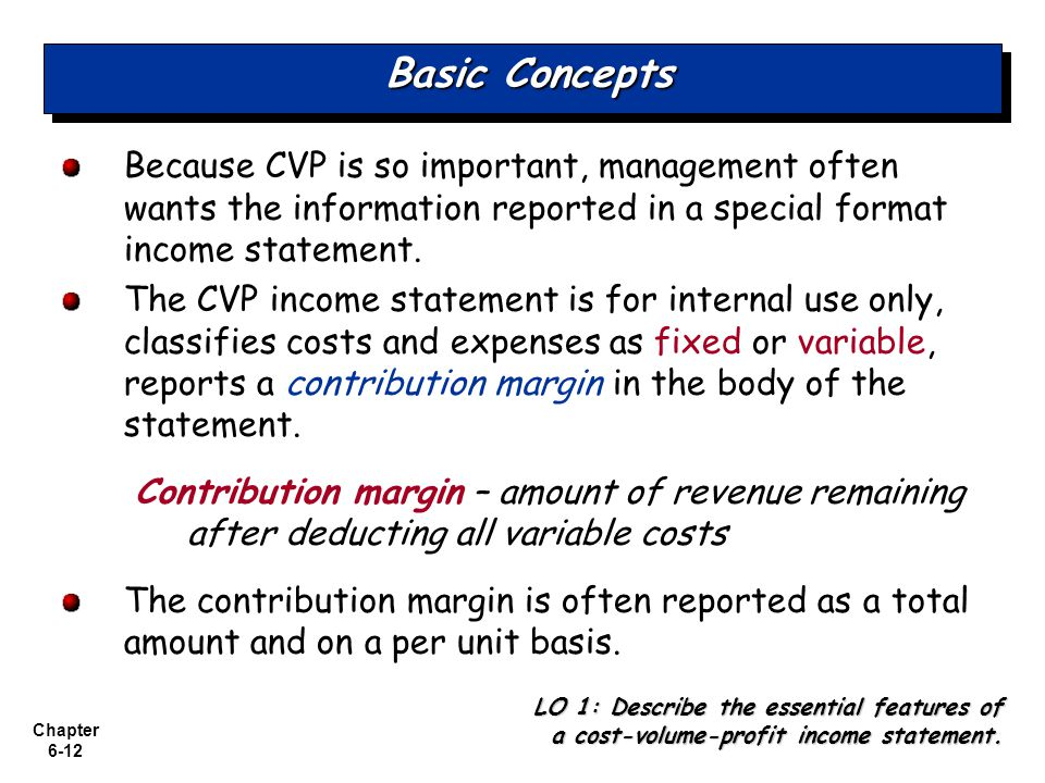 Basic Concepts Because CVP is so important, management often wants the information reported in a special format income statement.
