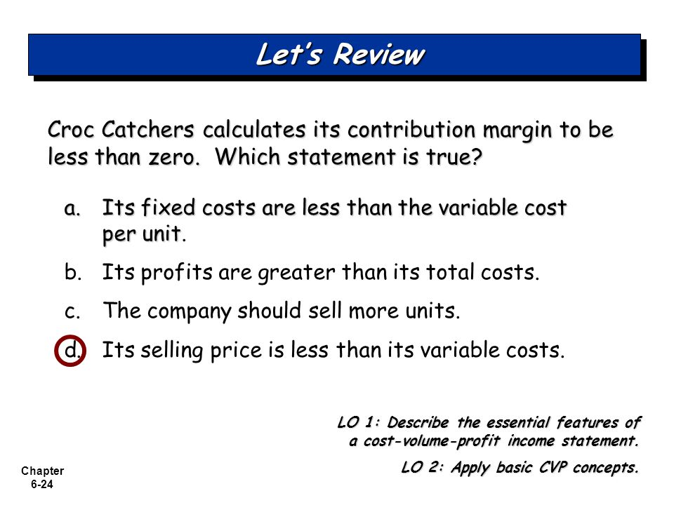 Let's Review Croc Catchers calculates its contribution margin to be less than zero. Which statement is true
