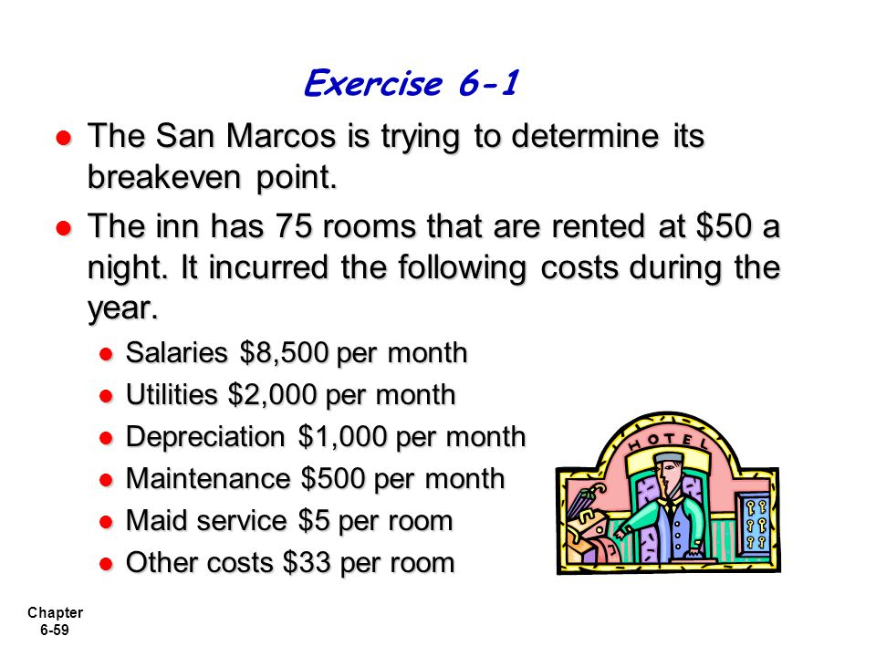 The San Marcos is trying to determine its breakeven point.