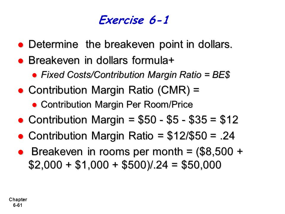 Determine the breakeven point in dollars.